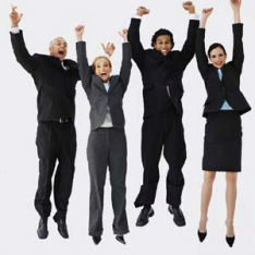 The photo shows a group of job seeker jumping for joy because they love their jobs.